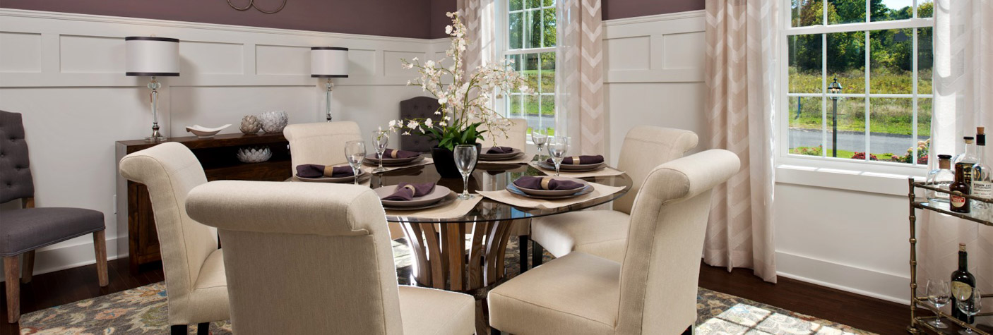 Dining room with set table
