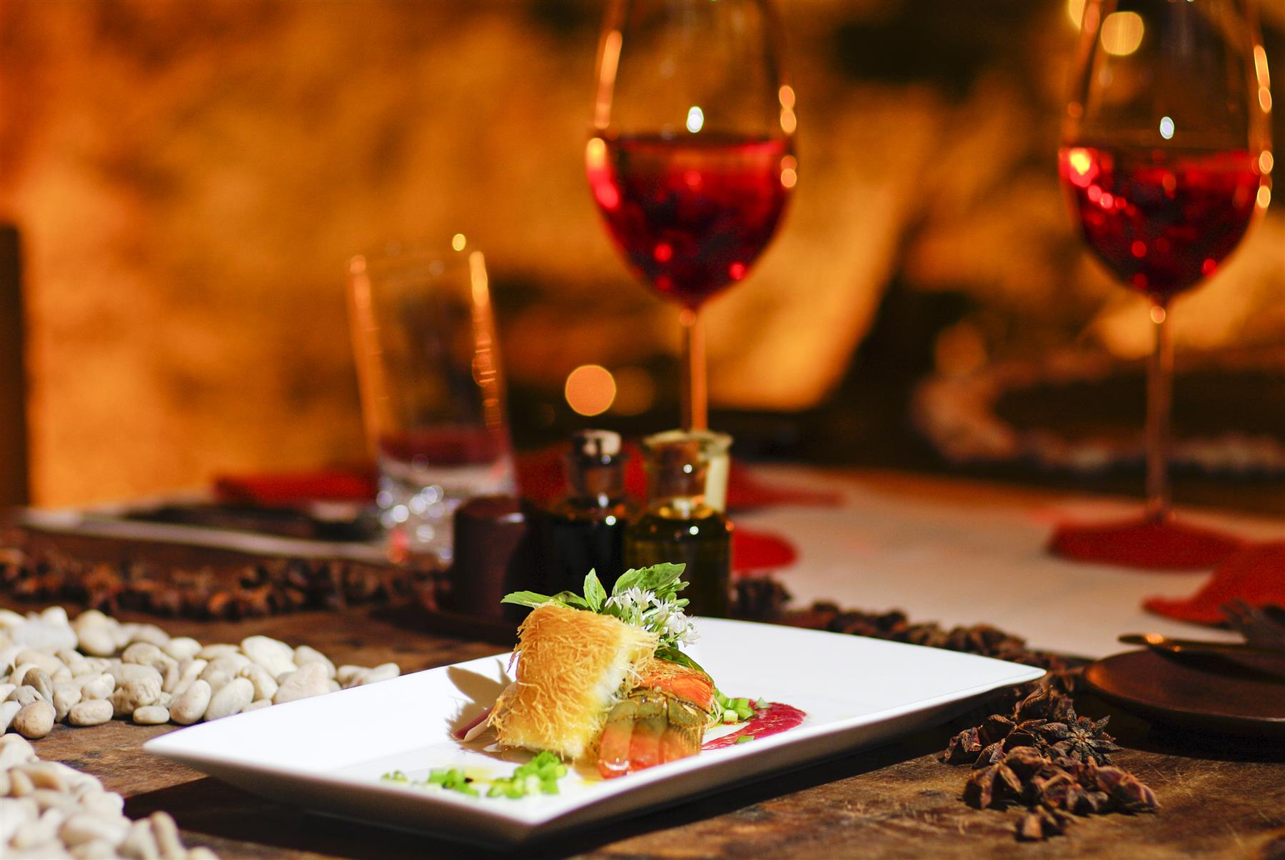 Plate of food and wine